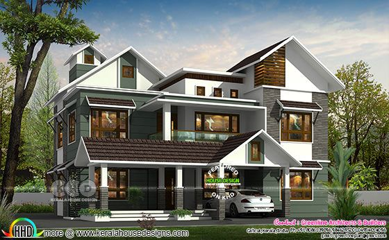 307 sq-m 4 BHK mixed roof house