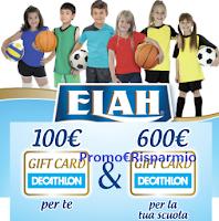Logo Concorso ''Elah premia te e la tua scuola'' con buoni Decathlon da 100 e 600 euro