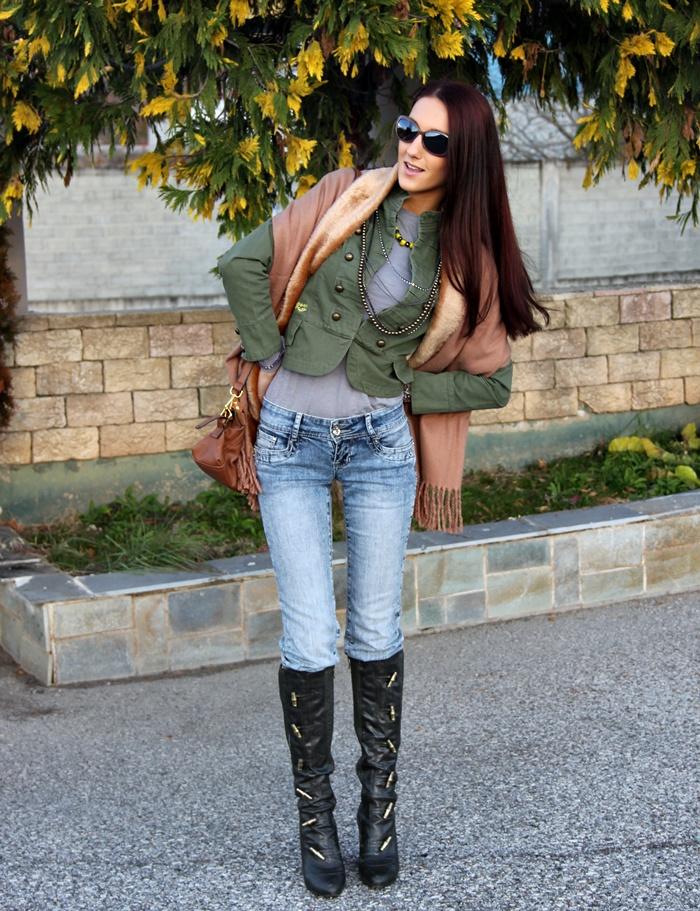 army green high heel boots and army green jacket outfit