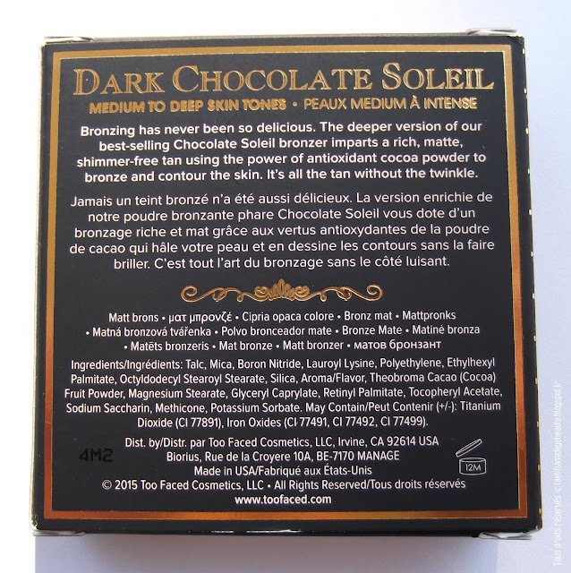 TOO FACED - Dark Chocolate Soleil / Deep Tan Matte Bronzer