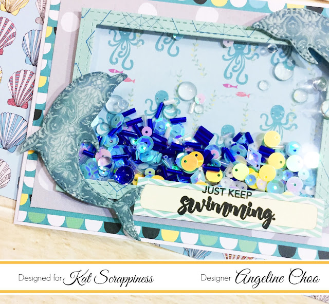 ScrappyScrappy: Dolphins Shaker Card with Kat Scrappiness #scrappyscrappy #katscrappiness #dolphins #shakercard #card #cardmaking #justkeepswimming #katscrappinessdie #katscrappinesssequin #sequin #timholtz #distressoxideink