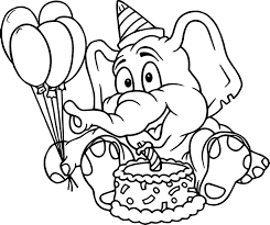 Click to see printable version of Elephant Birthday Coloring page