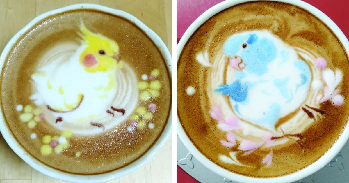 Latte Artist Decorates Coffee With Colorful Bird Illustrations
