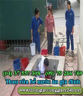 Thau rửa bể nước ăn gia đình