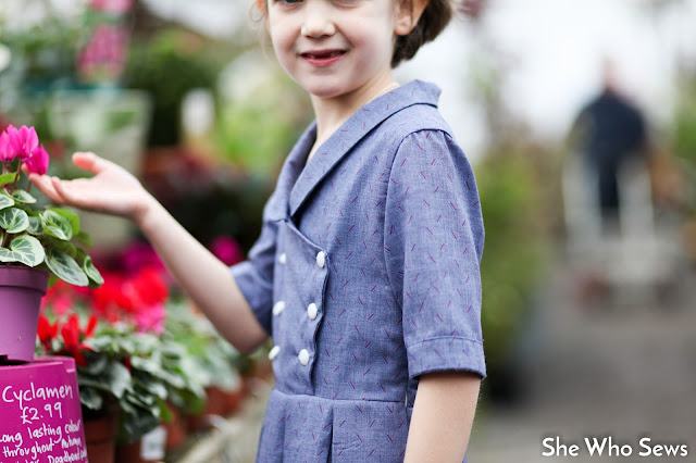 shawl collar and button front girls dress