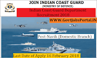 Indian Coast Guard Recruitment 2018 – Navik (Domestic Branch)
