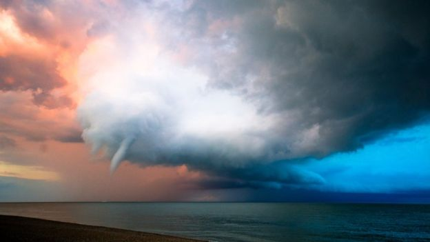 Waterspout or Water Tornado. VIDEO and Photos Waether Phenomena