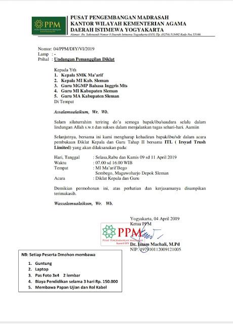 Contoh Surat Undangan Diklat Kepala Sekolah dan Guru Madrasah