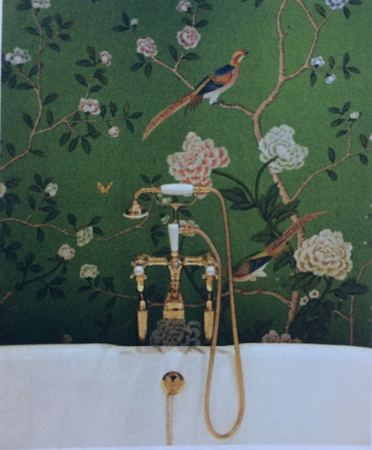 Poppy Delevingne's bathroom bathtub and brass faucet