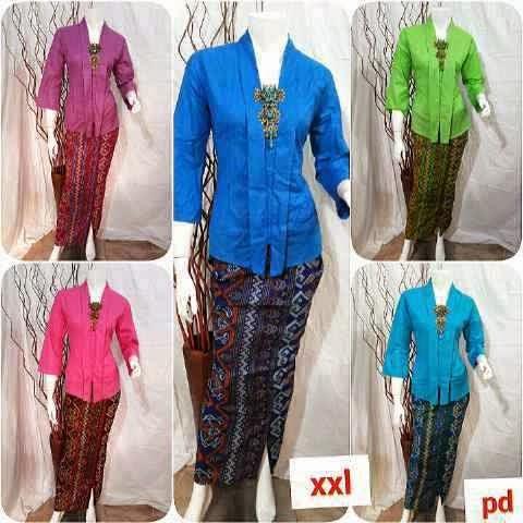 Model Baju Batik Seragam Kerja Wanita Setelan Rok Blus