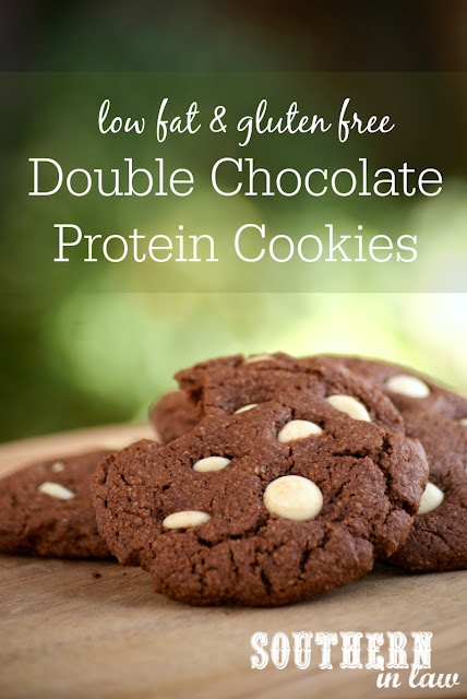 Healthy Double Chocolate Protein Cookies Recipe | low fat, gluten free, high protein, clean eating friendly, lower sugar, refined sugar free, low carb