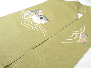 名古屋帯の恵比寿とフグの作家物画像