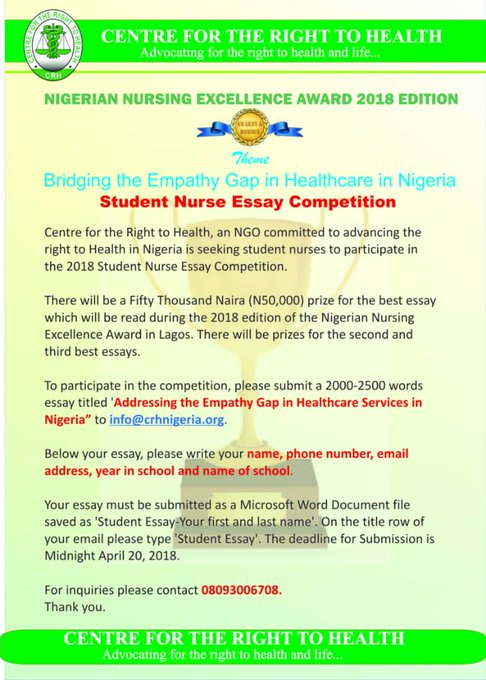 Nigeria Nurse  Essay Competition  All Nigeria Promos Home  We Are Seeking Student Nurses To Participate In The  Student Nurse Essay  Competition On The Topic Addressing The Empathy Gap In Healthcare Services  In