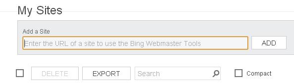 Bing Webmaster tools Site url