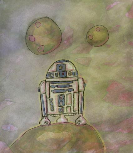 Illusztráció gyerekvershez, R2-D2 (Star Wars, Csillagok háborúja) droid áll a Tatooine bolygón Luke Skywalkerre és C-3PO-ra várva, fölötte két nap.