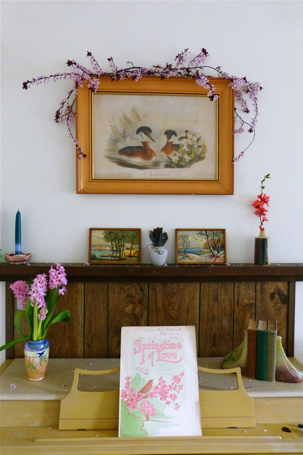 Styling The Season - March, vintage home wares, vintage John Gould print, sakura, blue jay feathers, vintage landscape paintings, hand dipped candles, candle holders, vintage sheet music, Springtime of Love waltz, vintage Japanese ceramics, cherry blossoms, hyacinths, quince, Wurlitzer piano, Epiphone mandolin