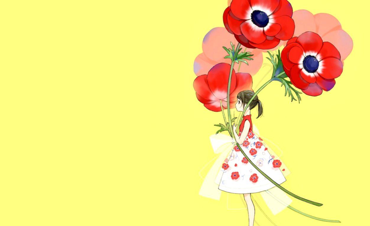 Anime Girl Yellow Flowers Wallpaper Hd Desktop Wallpapers