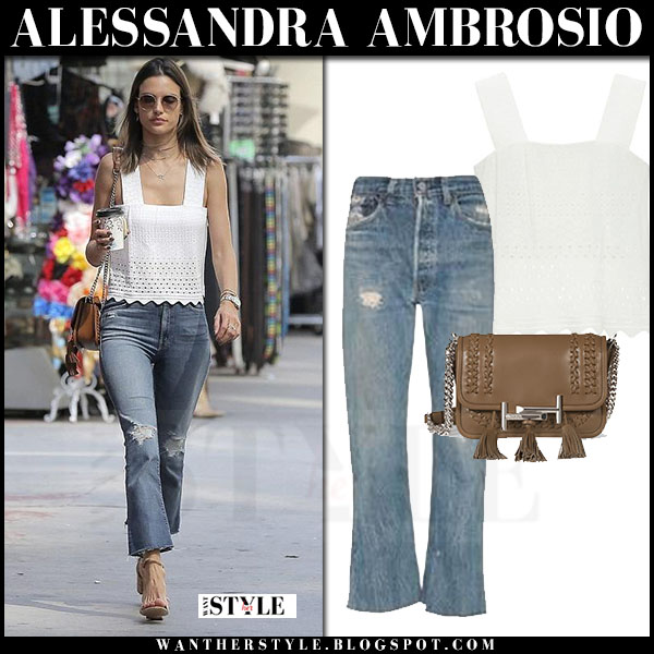 Alessandra Ambrosio in white top, cropped flare jeans what she wore models off duty