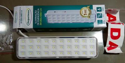 Luminária de emergência de 30 LEDs