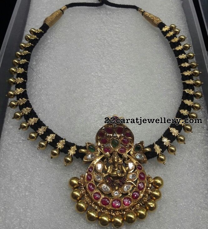 Black Thread Necklace with Ganesh