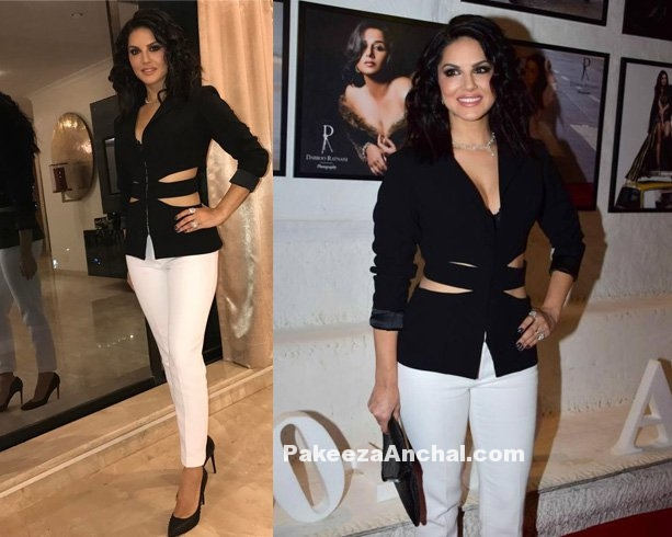 Sunny Leone in Black Cut out Jacket and tight Pants by Kashmira Official