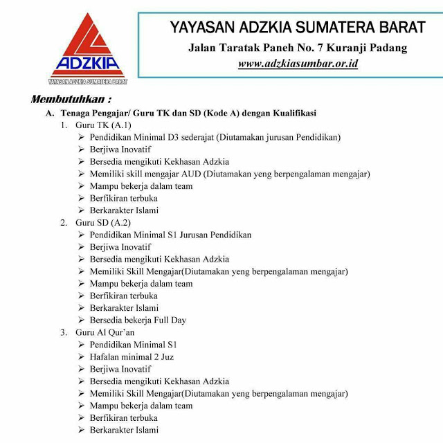 Lowongan Kerja Padang: Yayasan Adzkia Sumatera Barat Mei 2017