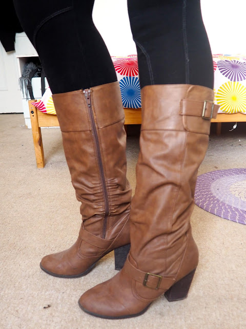 Disneybound Gaston inspired outfit shoe details of tall brown leather high heeled boots