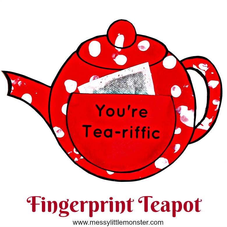 You're Tea-riffic easy teapot craft for kids with free teapot printable template. An easy paper craft and gift idea for babies, toddlers and preschoolers to make for mothers day, fathers day or as a teachers appreciation card. Also a fun activity to accompany the nursery rhyme 'I'm a little teapot'.