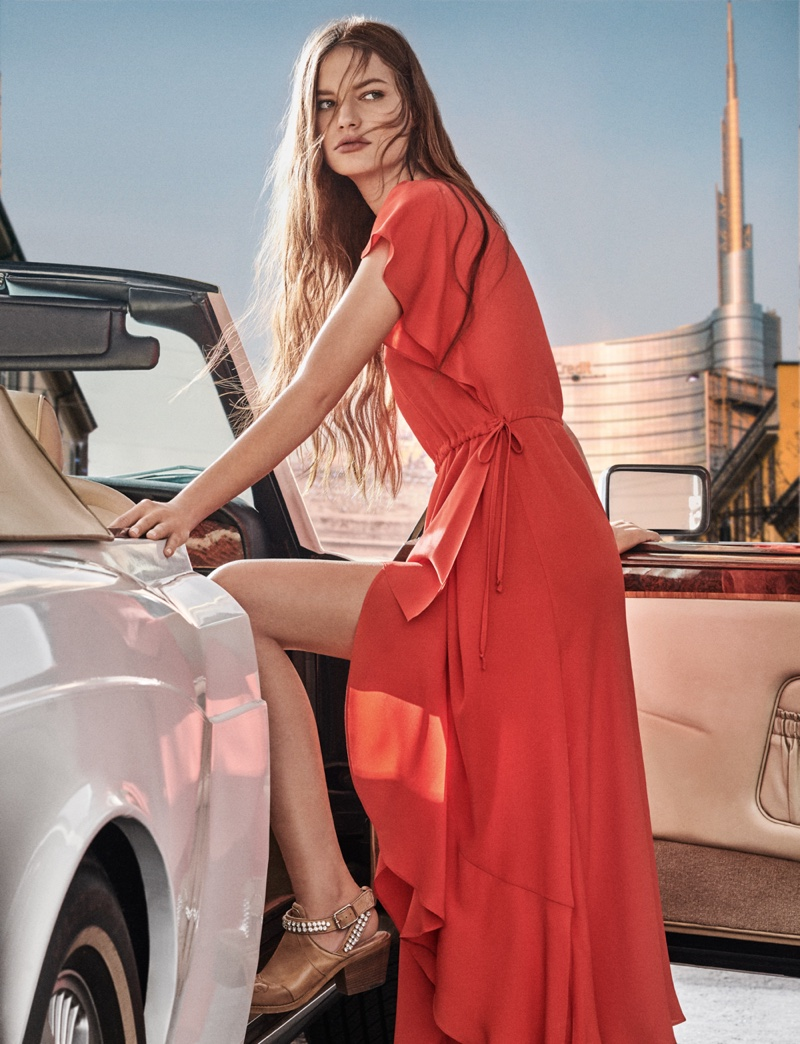 Faretta models maxi dress in Twinset campaign