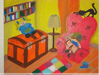 niña, gato, cuadro, sillón, libros, baúl, muñeca, leer