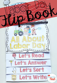 Labor Day reading flip book- September Activities and primary resources plus three FREEBIES- fun ELA, math, and social studies activities for students during the month of September