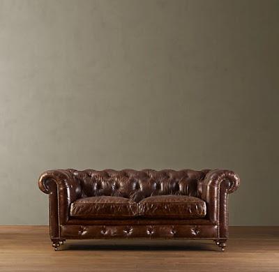 Restoration Hardware S 76 Kensington Leather Sofa