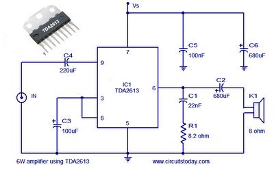 world technical 6 watt audio amplifier circuit hi fi. Black Bedroom Furniture Sets. Home Design Ideas