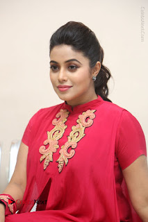 Actress Poorna Latest Stills in Red Dress at Rakshasi First Look Launch  0291.JPG