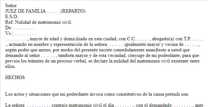 Demanda solicitud de nulidad de matrimonio civil - Tramites para casarse por lo civil ...