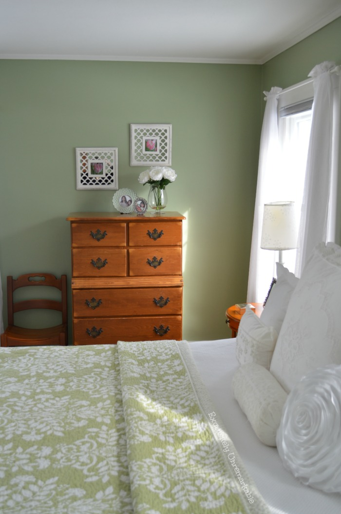 Cottage Style Green and White Master Bedroom