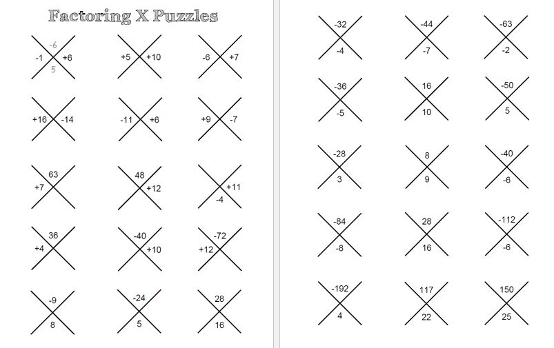 Radical 4 Math Resources For Factoring Trinomials