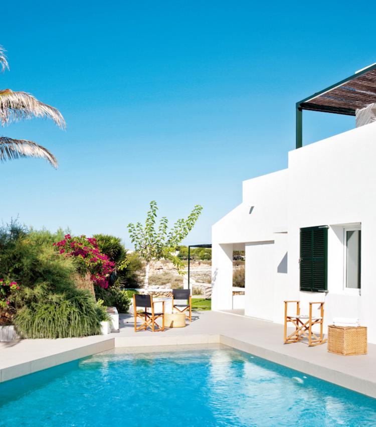 terraza con piscina, casa de vacaciones