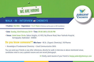 Walk in interview@Jubilant chemsys on 3 February for multiple positions