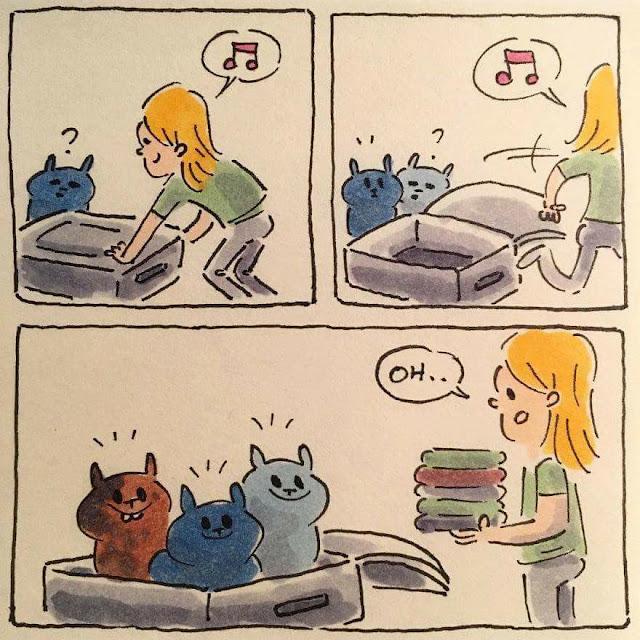 cuando preparas la maleta para irte de viaje y tienes gatos pasa esto, humor gatos
