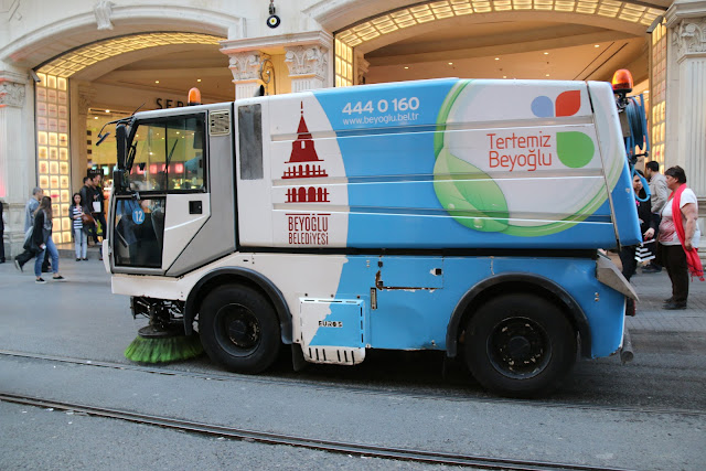 Mobile street cleaning along Istiklal Street in Istanbul, Turkey