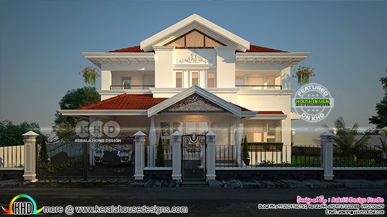 sloping roof style luxury house rendering