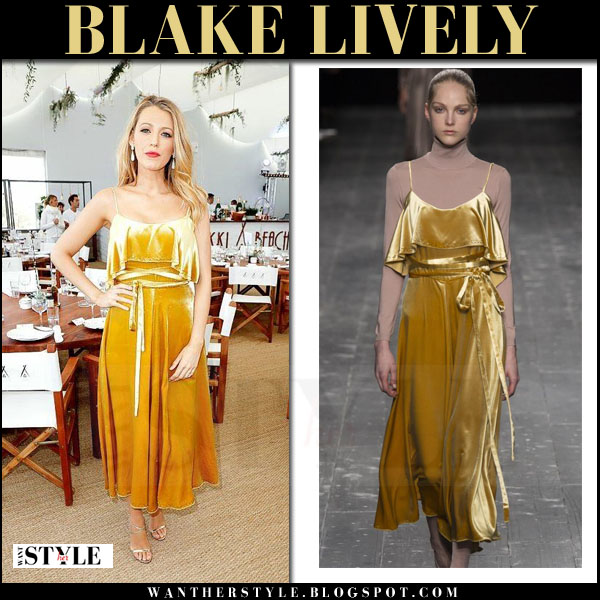 Blake Lively in yellow velvet Valentino dress and silver sandals jimmy choo memento hesper what she wore cannes film festival 2016