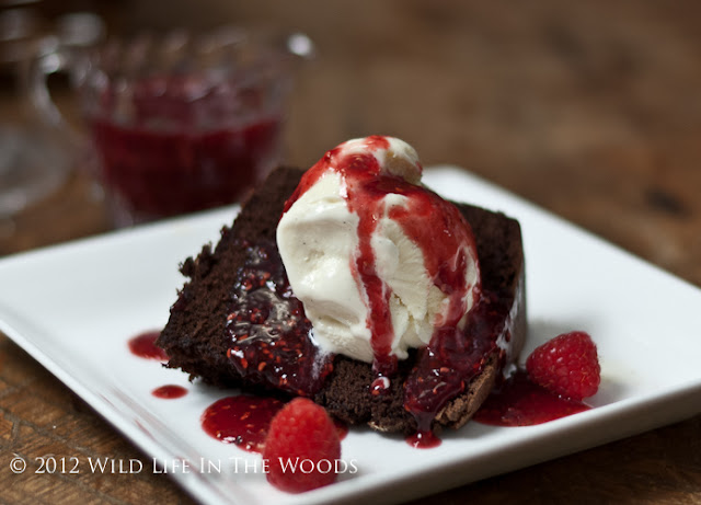 Chocolate Sour Cream Pound Cake with Raspberry Sauce