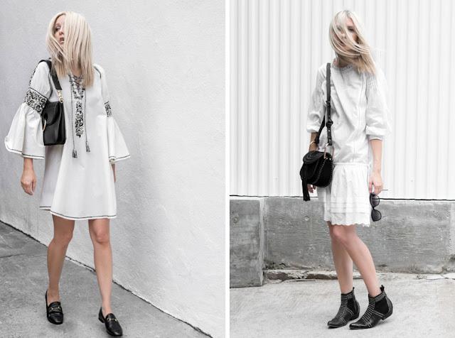 Девушка в белом платье холодного оттенка с черными аксессуарами