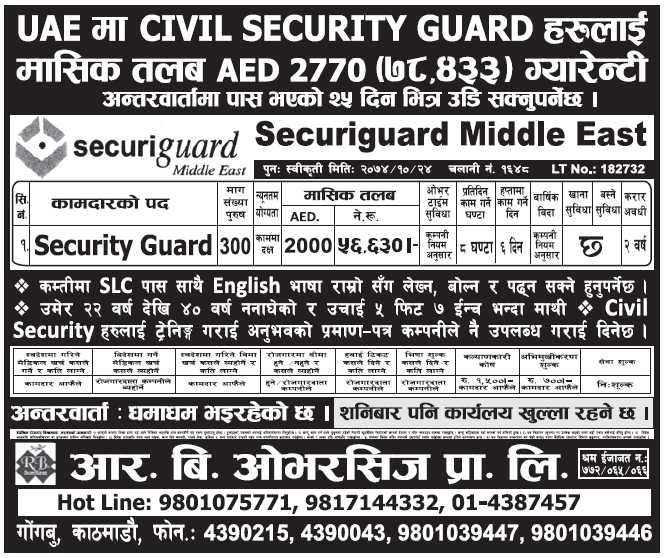 Jobs in UAE for Nepali, Salary Rs 56,630