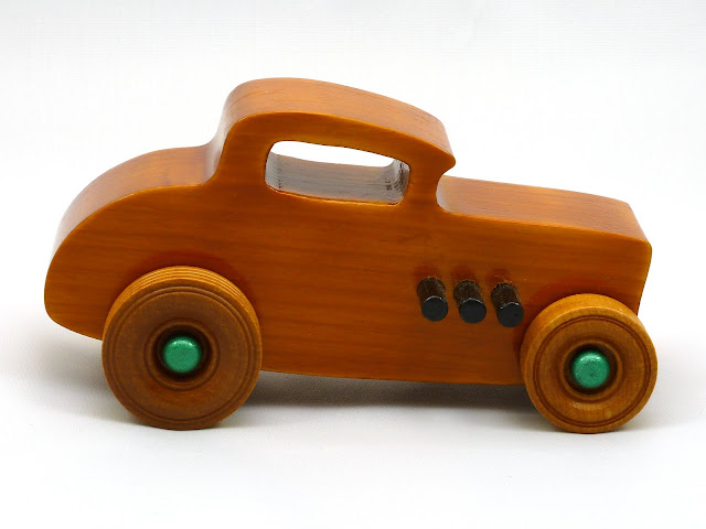 Right Side - Wooden Toy Car - Hot Rod Freaky Ford - 32 Deuce Coupe - Pine - Amber Shellac - Metallic Green