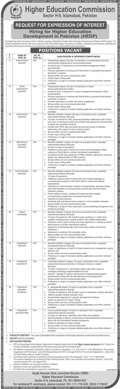 HEC Jobs Islamabad Higher Education Commission Jobs
