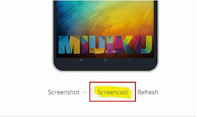 menu screencast untuk melalukan mirroring xiaomi