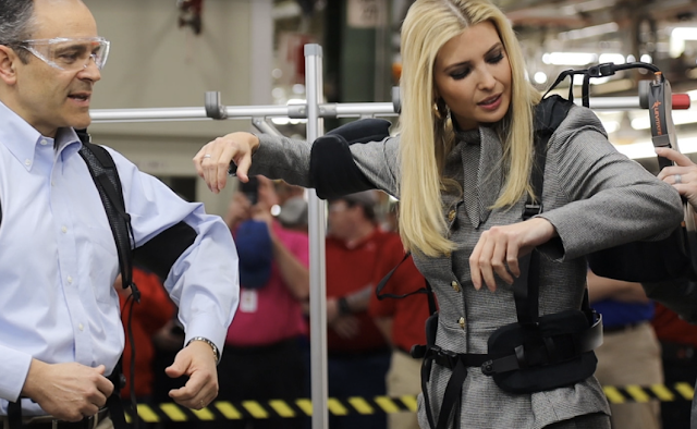 Ivanka Trump and Matt Bevin tour Georgetown Toyota plant and try out the exoskeletons